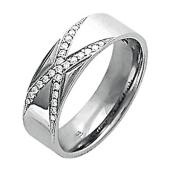 Обручальное кольцо, белое золото 585 пробы, бриллиант, широкая шинка, буква Икс с бриллиантами