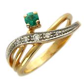 Кольцо с бриллиантами и изумрудом/рубином/сапфиром, красное золото
