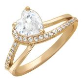 Кольцо с камнем в форме Сердца и фианитами, красное золото