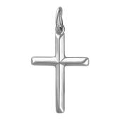 Крест без распятия с ребрами, белое золото 24 мм