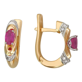 Серьги с овальными изумрудами (рубинами) и бриллиантами, комбинированное золото 750 проба