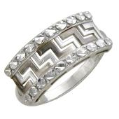 Кольцо с греческим узором на шинке, белое золото