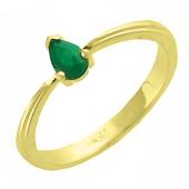 Кольцо с изумрудом Груша, желтое золото 750 проба