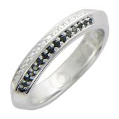Обручальное кольцо, белое золото, 585 пробы, бриллиант черный и классический, ребристая шинка, гравировка Вместе Навсегда 4.5мм