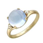 Кольцо с полудрагоценным камнем формы Кабошон и фианиты, желтое золото 585 проба