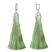 Серьги Кисти с оливковой шелковой нитью, серебро