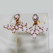 Серьги Dream джекеты с розовыми фианитами, серебро с золотым покрытием