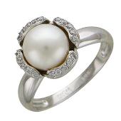 Кольцо с белым жемчугом, держатель - цветок, белое золото