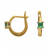 Серьги с квадратным сапфиром, комбинированное золото