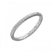 Кольцо с надписью Господи Спаси Сохрани Мя внутри и фианитами, серебро