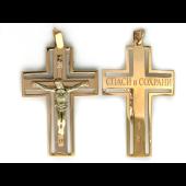 Крест православный с бриллиантами, комбинированное золото 35.8мм