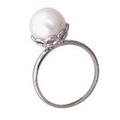 Кольцо, белое золото, большая круглая белая жемчужина в ажурном держателе