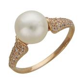 Кольцо с белым жемчугом и дорожкой из фианитов, красное золото