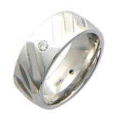 Обручальное кольцо с 4 бриллиантами, белое золото 585 пробы, широкая шинка, широкий торец, перфорация в виде прямоугольников 6.8мм