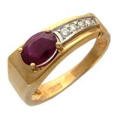 Кольцо с рубином/изумрудом овальной формы и бриллиантами, красное золото