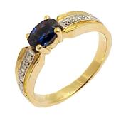 Кольцо с изумрудом овал и бриллиантами, красное золото