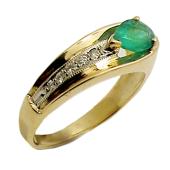 Кольцо с изумрудом груша и дорожкой бриллиантов, желтое золото 750 проба