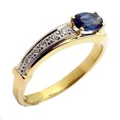 Кольцо с овальным изумрудом (сапфиром) и бриллиантами, желтое золото 750 проба