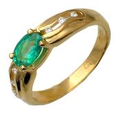 Кольцо с овальным изумрудом (рубином) и бриллиантами по краям, желтое золото 750 проба