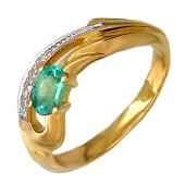 Кольцо с овальным изумрудом и бриллиантами, желтое золото 750 проба