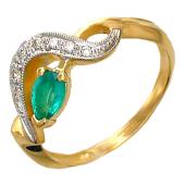 Кольцо с изумрудом груша и бриллиантами, желтое золото 750 проба