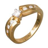 Кольцо с большим изумрудом в центре и по три бриллианта по краям, желтое золото 750 проба