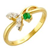 Кольцо Вишня с круглым изумрудом и бриллиантами, желтое золото 750 проба