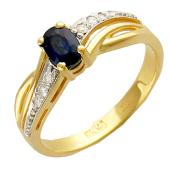 Кольцо с овальным изумрудом (рубином) и дорожкой бриллиантов, желтое золото 750 проба