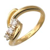 Кольцо Веточка с бриллиантами, красное и белое золото