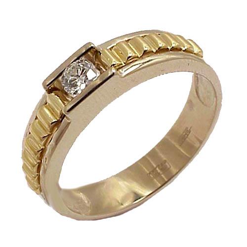 Мужские кольца из желтого/белого золота c бриллиантом