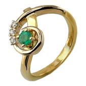 Кольцо Завитушка с изумрудом (сапфиром) и тремя бриллиантами, комбинированное золото 750 проба