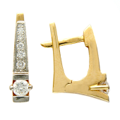 Серьги Дорожка с бриллиантами, красное золото
