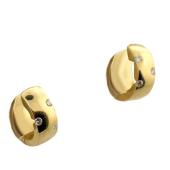 Серьги-кольца с бриллиантами, желтое золото 750 проба