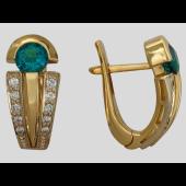 Серьги с круглыми сапфирами и бриллиантами, красное и белое золото