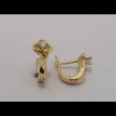 Серьги Цветок с бриллиантами, комбинированное золото