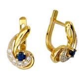 Серьги с бриллиантами и круглым сапфиром/изумрудом/рубином, комбинированное золото