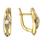Серьги Классика с бриллиантом, красное и желтое золото