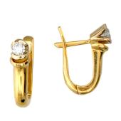Серьги Классика с бриллиантами, красное и белое золото