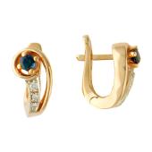 Серьги Ракушка с бриллиантами и сапфиром (изумрудом), комбинированное золото