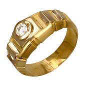 Мужское кольцо с бриллиантом, комбинированное золото