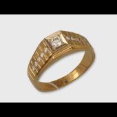 Кольцо мужское с бриллиантами, желтое и белое золото