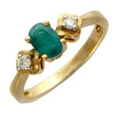 Кольцо с двумя бриллиантами и овальным изумрудом, красное золото