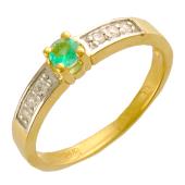 Кольцо классика с одним изумрудом и бриллиантами, желтое золото 750 проба