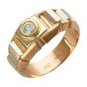 Кольцо мужское с бриллиантом в круге, желтое и красное золото
