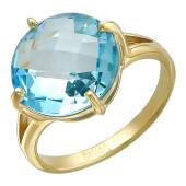 Кольцо с топазом (кварцем, раухтопазом, празиолитом) огранки бриолет, желтое золото 585 пробы