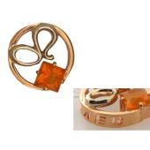 Кулон знак зодиака Лев в круге с квадратным Опалом, красное и белое золото