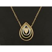 Колье Викс в виде капли с бриллиантами, красное белое и желтое золото
