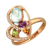 Кольцо Сердце с бриллиантами, аметистом и топазом, хризолитом и цитрином, красное золото