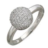 Кольцо Шар из фианитов, белое золото, 585 пробы