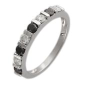 Кольцо Дорожка с чёрными и прозрачными бриллиантами, белое золото
